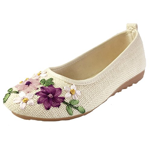 Fabric White Ballerina 515 Feminino Comfortable 6 Vintage Sapato Cotton Old Embroidered Peking Flats Linen Beige Flower Kenavinca On Flat Shoes Slip Women R8OTOnU