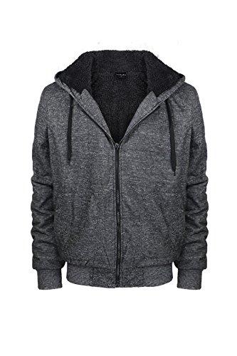 Lee Hanton Men's Full Zip Heavyweight Sherpa-Lined Fleece Hoodie Jackets (4X-Large, Marble Black)