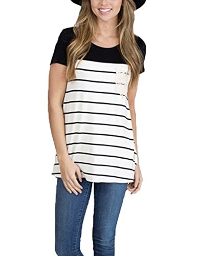 Uideazone Women Loose Striped Crew Neck T-shirt Casual Floral Blouse Tops