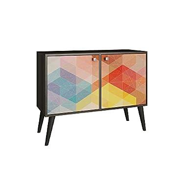 Modern Unique Art 3 Shelf Side Table, Wood, Contemporary Design (Oak)