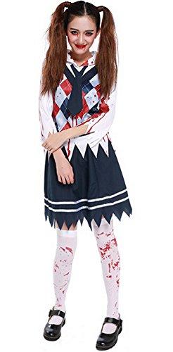 Halloween Zombie Costume Schoolgirl Costume Bloody Student Uniform Outfit Cosplay