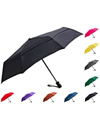 Compact Windproof Vented Automatic Travel Umbrella With Double Canopy - Lightweight Portable Folding Golf Umbrella