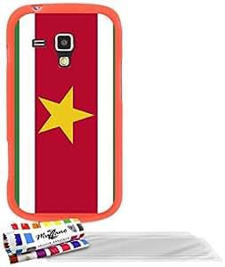 """Carcasa Flexible Ultra-Slim SAMSUNG GALAXY TREND de exclusivo motivo [Bandera Suriname] [Naranja] de MUZZANO  + 3 Pelliculas de Pantalla """"UltraClear"""" + ESTILETE y PAÑO MUZZANO REGALADOS - La Protección Antigolpes ULTIMA, ELEGANTE Y DURADERA para su SAMSUNG GALAXY TREND"""