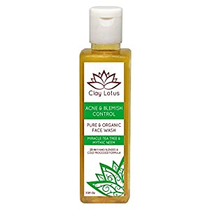Organic Facial Cleanser for Acne-prone, Oily Skin. 100% Natural. 23-in-1 face wash with Tea Tree & Neem. Clears skin. Fights blemishes. Vegan & cruelty-free. No harmful chemicals. By Clay Lotus
