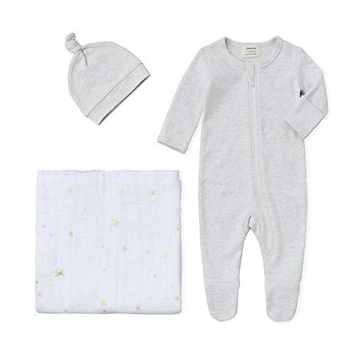 (Owlivia Organic Take Me Home Outfit Set, Newborn Baby Boy Girl Footed Pajama Hat and Muslin Blanket Gift Set,3 Pcs(Gray+Star,Newborn))