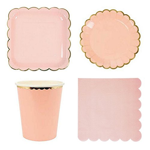 Disposable Paper Tableware Set Golden Printed Candy Colored Paper Flatware Table Decorative Paper Plates Paper Cups for Parties Weddings (Pink Coloured Plate)