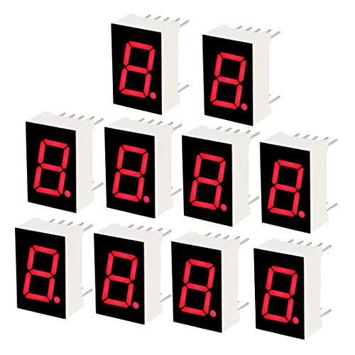 (uxcell Common Anode 10 Pin 1 Bit 7 Segment 0.75 x 0.5 x 0.31 Inch 0.5 inches Red LED Display Digital Tube 10pcs )