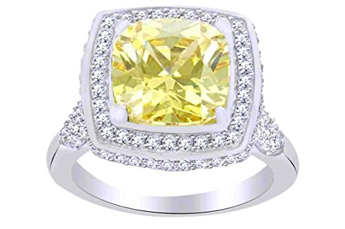 Canary Solitaire Ring - AFFY Simulated Canary Yellow Diamond & White Cubic Zirconia Solitaire Ring in 925 Sterling Silver Ring Size-8.5