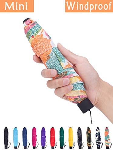 Fidus Small Windproof Travel Umbrella - Compact Folding Light Portable Sun & Rain Outdoor Golf Umbrella for Women Men Kids-Leaf Colorful
