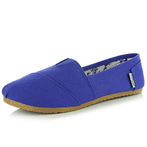DailyShoes Women's Classics Flat Casual Flats Memory Cushion -Ultra Breathable Slip Resistant - Perfect Daily Shoes Slip-On Working Sneaker Shoes, Cobalt Linen, 10 B(M) US