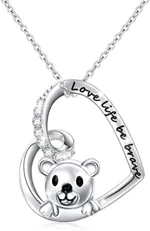 b435f6dae 925 Sterling Silver Cute Animal Heart Pendant Necklace with Words Engraved,  Chain 18 inch Women