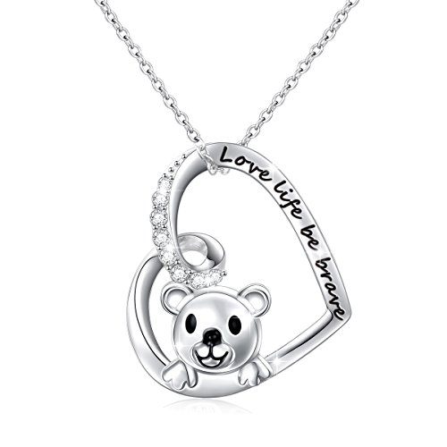 925 Sterling Silver Engraved Love Life Be Brave Cute Animal Bear Heart Pendant Necklace for Women Girls, 18