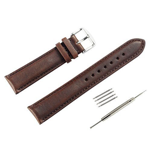 WOCCI Leather Watch Strap Vintage Style Bands 20mm for Men and Women(Dark Brown with Tone on Tone Seam)