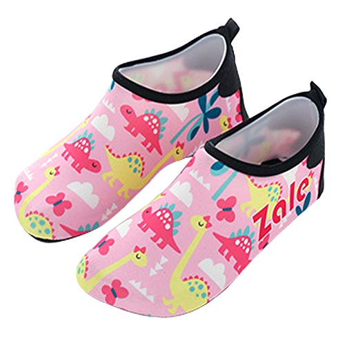 Anddyam Girls and Boys Quick-Dry Outdoor Water Shoes Aqua Socks Shoes for Beach Pool Surf Yoga Exercise (Little Kid (6-7 Years), Dinosaur Pink)