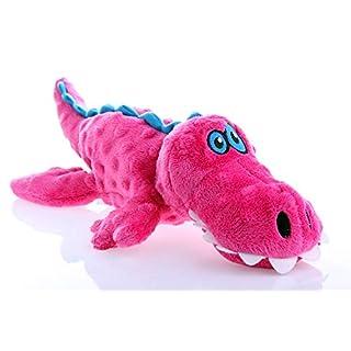 goDog Gators With Chew Guard Technology Tough Plush Dog Toy, Pink, Large