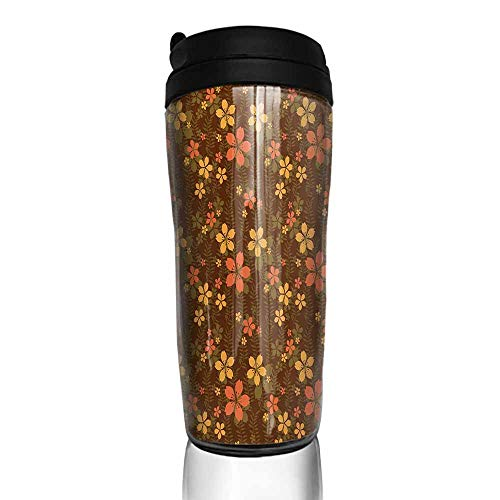 (coffee cups with lids 16 oz Chocolate,Wildflowers and Foliage on an Abstract Brown Background Ornate Blooming Nature,Multicolor 12 oz,coffee packets for 12 cup coffee maker)