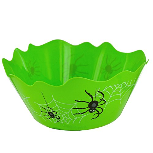 Premium Halloween Green Flexible Spider Candy Trick Or Treat Bowl BPA Free - Large Size 4.7Qt -