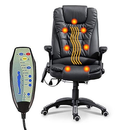 Heated Office Massage Chair-High-Back PU Leather Adjustable Height & Armrest Executive Ergonomic Heated Vibrating Chair (Black)