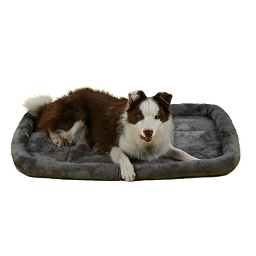 QIAOQI Dog Bed Bolster,Soft Dogs & Cats Kennel and Crate Mat Mattress Small Grey by QIAOQI