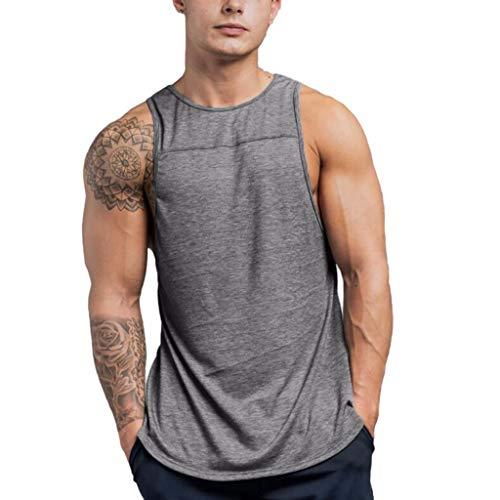 - FEITONG Men's Sleeveless Tank Top T-Shirt Bodybuilding Sport Fitness Vest(Gray,Medium)