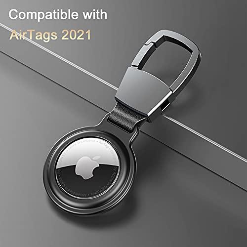 Cheermal Airtags Schutzhülle   Airtags Hülle   2er AirTag Schlüsselanhänger aus Aluminiumlegierung und Leder, 1 Schwarz Plus 1 Blau