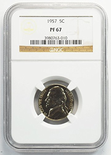 - 1957 P Jefferson Nickel Brilliant Uncirculated Proof 5c PF67 NGC