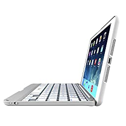 ZAGG leather-textured Cover Hinged with Blacklit Keyboard  for iPad mini & iPad mini Retina - White
