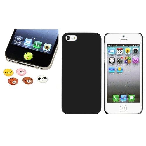 schwarz Dünn hart Tasche Case+6pc Tier Home Button Aufkleber für Apple iPhone 5