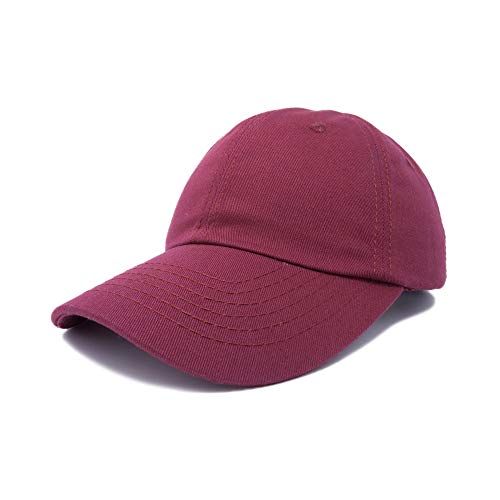 Dalix Unisex Unstructured Cotton Cap Adjustable Plain Hat, Maroon