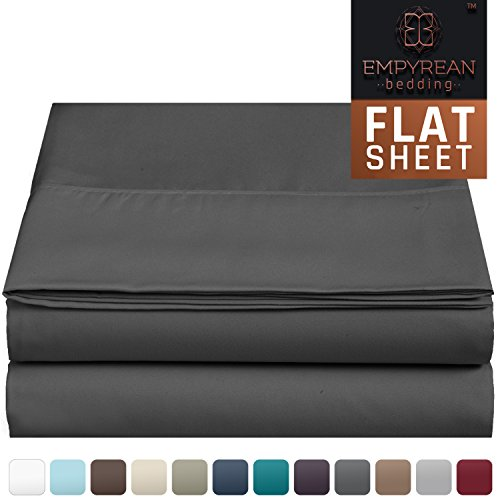 "Premium Flat Sheet – ""110 GSM"" Double Brushed Microfiber Extra Thick and Comfortable Highest Quality Flat Sheets, Luxurious & Soft Hotel Single Top Bed Sheet Hypoallergenic, Full, Charcoal Gray"
