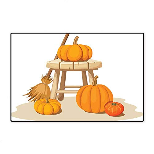 Door Mat IncreaseStill Life with Pumpkins and a Wooden Stool Vector Illustration W47.24 ()