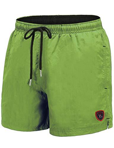 BUYKUD Men's Swim Trunks Beach Board Shorts Surfing Swimming Bathing Suit Green