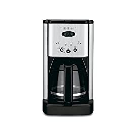 Cuisinart Brew Central DCC-1200 12 Cup Programmable Cofeemaker (Black/Silver) and Everyday 12-Pack Replacement Charcoal Water Filters for Cuisinart Coffee Machines Bundle 137 Classic brushed metal design with a 12-Cup carafe with ergonomic handle for comfortable, dripless pouring Brew pause feature lets you enjoy a cup of coffee before brewing has finished. Adjustable heater plate (low, medium, high) ensures that your coffee stays at the temperature you like best 24-hour advance brew start, programmable auto shutoff from 0 to 4 hours plus a 1- to 4-Cup feature when making less than 5 cups