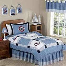 Sweet Jojo Designs 4-Piece Come Sail Away Nautical Children's Bedding Boys Twin Set