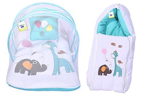 Toddylon Infant Born Baby Mattress with Net & Sleeping Bag Bedding Combo Set (0-6 Months) Blue