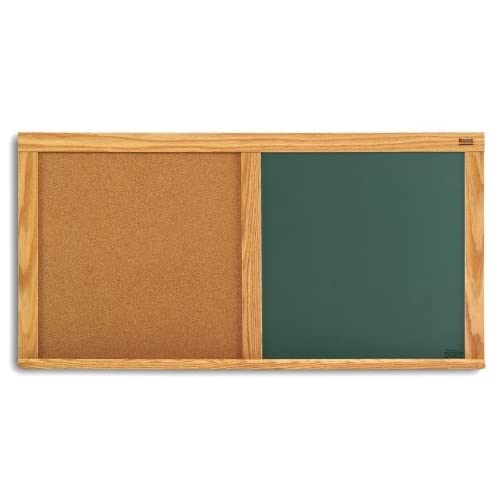 Green Chalkboard & Natural Cork Combination Board w Oak Trim (48 in. x 72 in.) free shipping