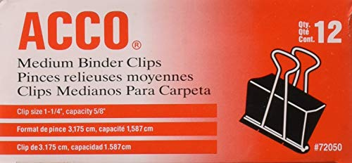 ACCO Medium Size Binder Clips - 1 p1/4'' Width. 5/8'' Capacity - 12 per Box - 8 Boxes (96 Total) (Medium Binder Clips)