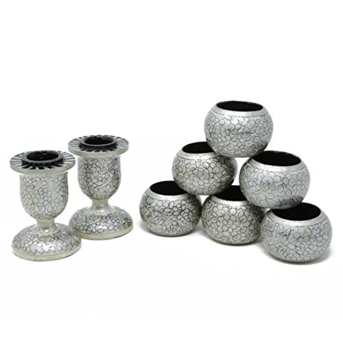 ShalinIndia Dinner Party Dinning Table Decor Set of 6 Napkin Rings and 2 Taper Candle Holders Handmade Paper Mache Art and Craft,Cream Grey