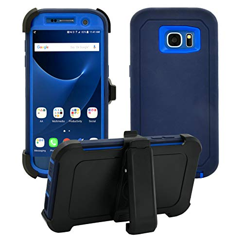 Samsung Galaxy S7 Edge Cover | Holster Case | Full Body Military Grade Edge-to-Edge Protection with carrying belt clip | Drop Proof Shockproof Dustproof | Navy Blue / Blue