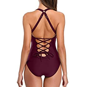 - 41rHEaVJvbL - Sociala Women Deep Plunge One Piece Swimsuit Lace-up Back Monokini Bathing Suit