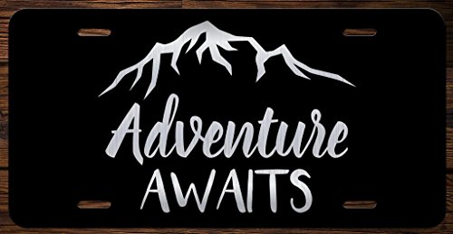 Adventure Awaits Mountains Vanity Front License Plate Tag ()