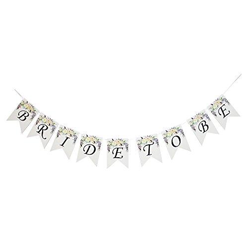 Bride To Be Banner Flower For Wedding Sign Bridal Shower Banner Hen Night Bunting White ()