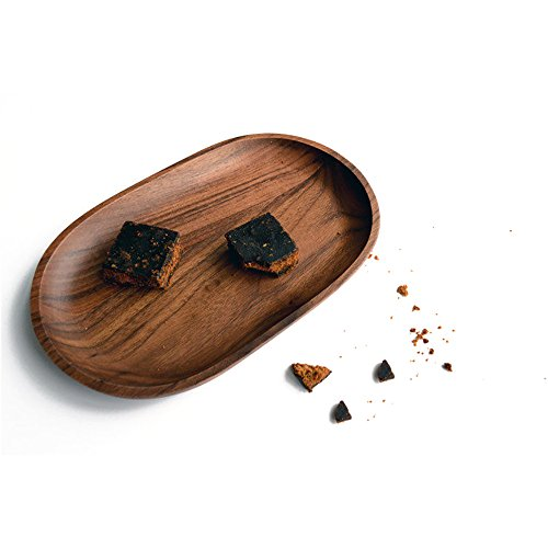 Wallace Royal Thread (10pcs. Black Walnut Wooden Bread Plate Oval for Snacks Dishes Home Kitchen Tableware)