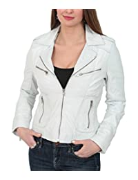 Womens Real Lambskin Leather Biker Style Fitted Casual Jacket Kim White