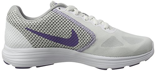Nike Revolution 3 - Zapatillas de Entrenamiento, Mujer Negro (White/purple Earth-wolf Grey)