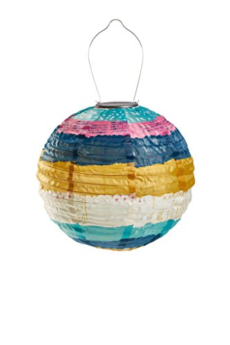 Allsop Home and Garden 31595 Soji Celestial Stripe, LED Outdoor Solar Lantern, Handmade with Weather-Resistant UV Rated Fabric, Stainless Steel Hardware, Chinese Style Light, 1-Count by Allsop Home and Garden