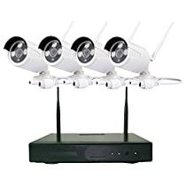 4CH 960P Wireless Security System NVR Monitoring Play All-in-One HD WiFi Camera System Indoor/Outdoor Night Vision Surveillance Camera Auto Connect (No Hard Disk)
