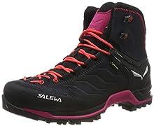Salewa WS Mountain Trainer Mid Gore-Tex, Zapatos de High Rise Senderismo para Mujer, Gris (Asphalt/Sangria 989), 37 EU