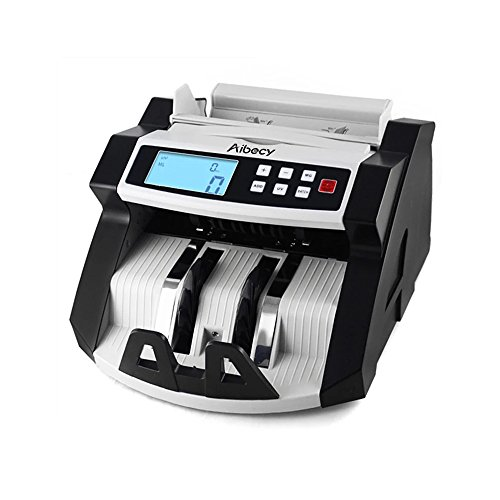 KKmoon Automatic Multi-Currency Cash Banknote Money Bill Counter Counting Machine LCD Display with UV MG Counterfeit Detector for EURO US Dollar AUD Pound