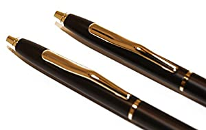 Black and Gold Police Uniform Pens w/Gold Polished Steel Saint Michael's Challenge Coin by Beall's Bay